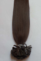 "Indian Hair Darkest Brown Straight 20"" Flat Tip Keratin Tip Human Hair Extensions Indian Remy 2# darkest brown color 1g s 100g 100s pack straight body wave Free shipping"