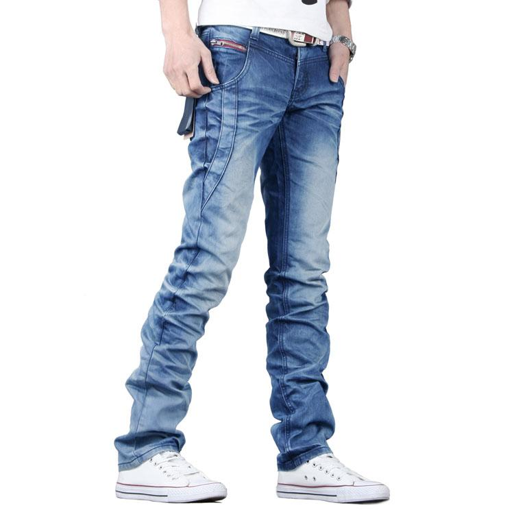 Hot Sale High Fashion Light Blue Pleated Jeans Men/Famous Brand ...