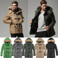 Coats Men Polyester New Fashion Men Winter Thick Warm Parka Overcoat Faux Fur Collar Hooded Coat Outerwear