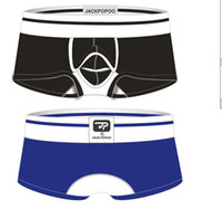Wholesale JACKPOPOO New Mens Sexy Boxers Underwear Cotton Close and Open Convex Panties Sheer Boxer Shorts Man Lingerie Short Pants Underwear pc