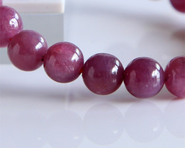 Free Shipping Discount Wholesale Natural Genuine Red Ruby Bracelet Smooth Round beads Finished Stretch Bracelets 8.5mm 02825