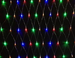 Rgb led net en Ligne-4W 1,5 mètres x 1,5 mètres Magic Christmas Garland Décoration 96pcs LED NET AC110 ~ 230V entrée Garantie de 2 ans, PVC transparent Ligne