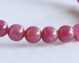 Free Shipping Discount Wholesale Natural Genuine Pink Red Ruby Bracelet Smooth Round beads Finished Stretch Bracelets 6mm 02818