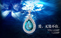 Wholesale 2014 new TITANIC the heart of the ocean shape necklace sterling silver chain luxury jewelry heart design muti color necklace