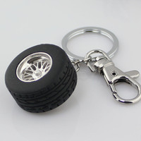 Wholesale mini rubber tire wheel model keychain key ring gift car accessories keychain zinc alloy Novelty gift