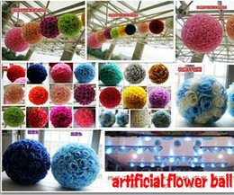20 CM Diameter Simulation of High-density Fabric Silk Artificial Flower Rose Kissing Ball For Wedding Party Decoration