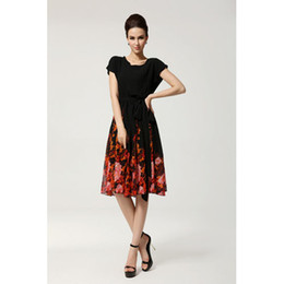 Womens Dress New Womens Elegant Chiffon and Flower Printing Casual Dress Fashion Lady Short Sleeve and Slim Skirt
