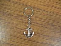 Wholesale Silver Sideways Anchor keychain key ring charm Keychain
