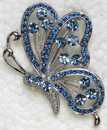 Wholesale Blue Crystal Rhinestone Butterfly Pin Brooch Fashion Jewelry gift Brooches pins amp Pendant C636 C