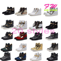 Wholesale 2014 NEW Arrival Gz high top fashion wedges sneaker for women men crocodile pattern shoes black EU size