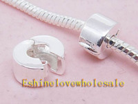 Wholesale Christmas Big Sale Charms Bead Silver Plate Stopper Beads Clips Lock Fit European Bracelet t1
