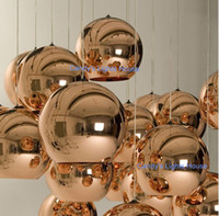 Wholesale Tom Dixon Glass Bronze copper mirror shade Ball pendant lamp for dinning room living room hotel