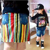 Wholesale 2014 Kids jean skirt Girls Stripe Short clothing wear bc287