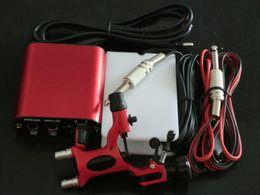 Wholesale Professional Red Tattoo machine gun Kits Rotary Dragonfly Tattoo Gun Machines Equipment with tattoo power supply foot pedal clip cord plug