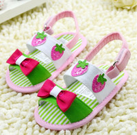 Unisex Summer Cotton 2014 hot style! Fruits and baby soft bottom toddler sandals. Red bow, Velcro buckle shoes.8pairs 16pcs CL