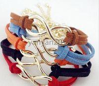 anchor symbols - 2014 new Infinity bracelet Fashion Bracelets Cross Infinite Symbols Anchor Leather Rope Bracelet