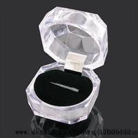 venda por atacado acrylic box-Jóias Pacote caixas de anel brinco titular de exibição caixa de acrílico transparente casamento embalagem caixa de armazenamento Casos v0262