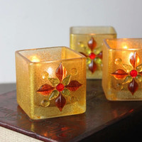 Wholesale European Golden Glass Candle Holder Flower Mosaic Square Tea Light Holder Party Decoration SH300