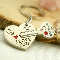Wholesale 50pcs Pairs quot I LOVE YOU quot Alloy Heart KeyChain Lover gift Keyring Keyfob wedding gift alloy Novelty gift