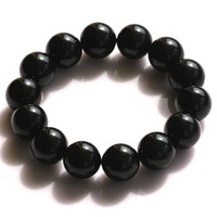 Stone Fashion Bracelets Red natural black tourmaline bracelet 14mm Men natural crystal bracelets