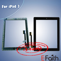 For Apple For Ipad Capacitance Free DHL Shipping For iPad 3 Touch Screen Digitizer & home butoon & adhesive