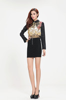 Wholesale Women Ladies Black Retro Turn down Collar Shirt Dazzle Printed Back Zipper Long Sleeve Shirt