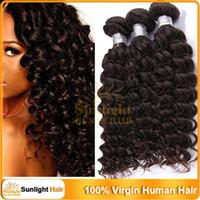 """100g Malaysian Hair Natural Color 3Pcs Virgin Kinky Curly Hair Malaysian Deep Curly Natural Wave Remy Human Hair 12""""-28"""" Natural Black 1B# Weft Hair Weave Extensions"""