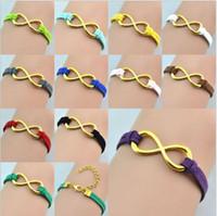 man  woman  gril  boy  anchor symbols - 2014 new Gold Infinity bracelet Fashion Bracelets Cross Infinite Symbols Anchor Leather Rope Bracelet