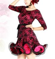 Wholesale dancing costume Latin Ballroom Dance dress long sleeves lace skirt dress TL046