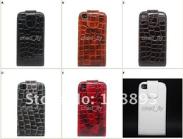 Wholesale Croco Leather Slim Flip Cover Case Pouch Holder for Apple iPhone 4 4S 4G 6 COLORS
