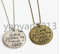 Pendant Necklaces beautiful love rounds - W24 Beautiful Retro Vintage LOVE English Letters Round Tag Chain Necklace Copper Silver Colors