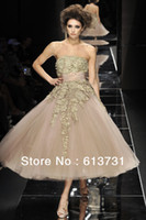 Reference Images Sweetheart Organza 2013 New Arrival Couture Elie Saab Evening Dresses Gold Lace Tea Length Ball Gown Prom Dresses BO1706