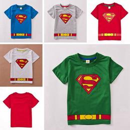 Wholesale hot sale new summer baby cotton belt superhero batman t shirt tops boys superman shirt t shirts color choose pc Melee