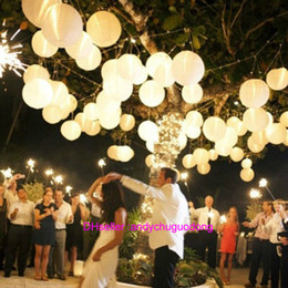 Wholesale New Hanging White Paper Lanterns Lighting with inch for DIY Wedding Decorations Chinese Lantern