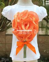 Girl Summer Standard Wholesale - Kids Summer Short Sleeve T Shirt Children T Shirts Tee Shirt Girls Cute Bowknot Flower Casual T Shirt Child Wear Fashion Round N