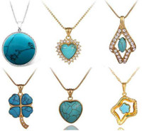 Wholesale MIX STERLING SILVER STONE TURQUOISE PENDANT NECKLACE POP JEWELRY