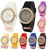Cheap Fashion Diamond Geneva watch Best Unisex Day/Date Crystal geneva silicone watch