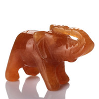 Wholesale 1 quot Red aventurine Elephant stones carved Crafts Figurine healing reiki free pouch