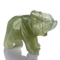 "Crystal ECO Friendly Green Jade 1.5"" New Green Jade Elephant stones carved Crafts Figurine healing reiki free pouch"