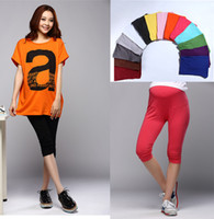 belly length - New Pregnant Women Ladies Pants Maternity Leggings Solid Cotton Casual Pleated Elastic Stretch Belly Capris Color Size US