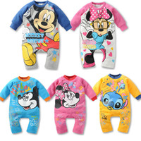 Wholesale New spring autumn baby wear boy girl rompers newborn infant Mickey Minnie romper baby jumpsuit