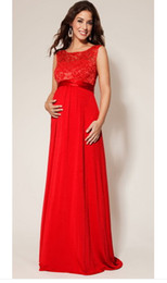 Wholesale 2014 New Elegant Lace Backless Empire Long Chiffon Formal Maternity Evening Dresses For Pregnant Women Red Black Grey