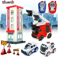 Electric 2 Channel 1:4 Silverlit Toys Infrared Remote Control Car Police Car Fire Truck Ambulance Luxury Set 87718