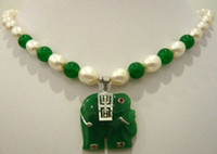 Pendant Necklaces Asian & East Indian Women's White pearl & green jade necklace+elephant silver Jade pendant