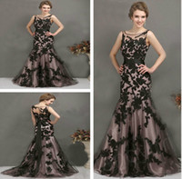 Wholesale 2014 Beautiful Black Appliqued evening dress prom dress Crew Neckline Sheer Straps Newest Stcok Sleeveless Mermaid Tulle
