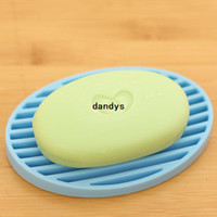 Wholesale Bathroom fashion candy color silica gel soap box soap holder soap dish dandys