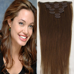 Wholesale - 160g pc 10pc set 6# light brown 100% real human hair brazilian hair clips in extensions real straight full head high quality