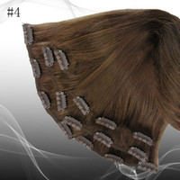 Wholesale g pc pc set chocolate brown real human hair INDIAN hair clips in extensions real straight full head high quality