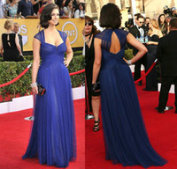 Wholesale Sheer Straps Backless Celebrity Dresses Navy Morena Baccarin Ruched Tulle Strapless A Line Floor Length the SAG Awards Red Carpet Gown