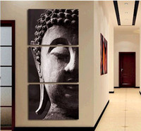 One Panel Oil Painting Abstract 3 Panel Wall Art Religion Buddha Oil Painting On Canvas No Framed Room Panels For Home Modern Decoration art picture